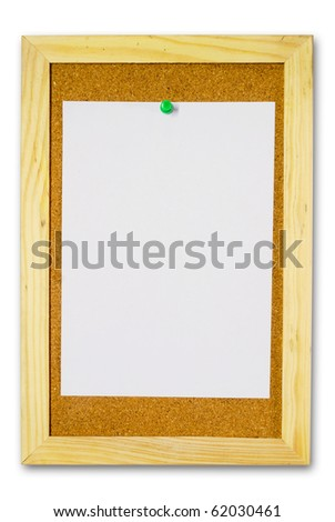Note paper on cork board isolated for text and background - stock photo