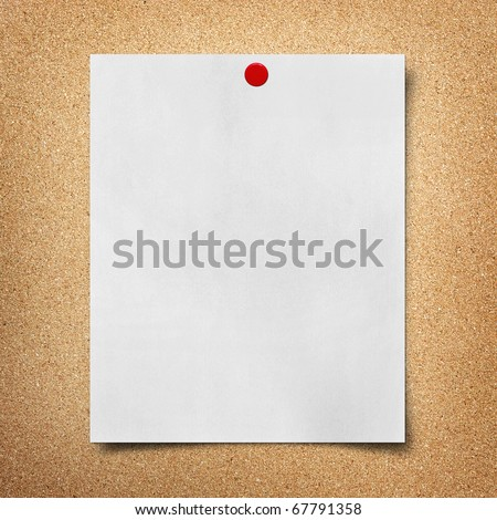 note paper pined on cork board background - stock photo