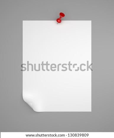note paper pinned on gray background - stock photo