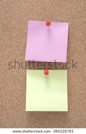 note paper stick on wood board
