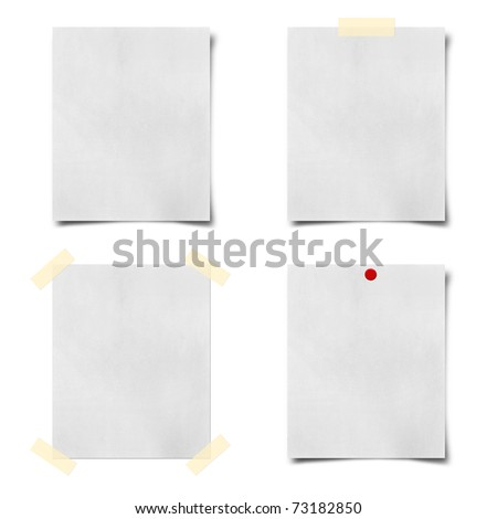 note paper taped and pined on white background - stock photo