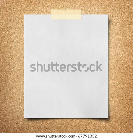 note paper taped on cork board background - stock photo