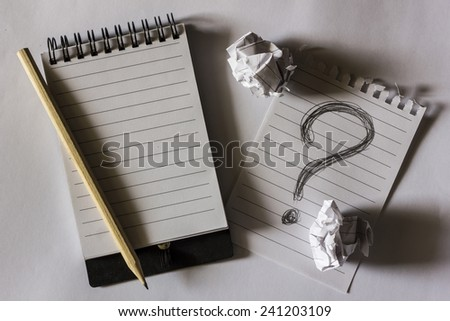 note paper with crumpled paper - stock photo