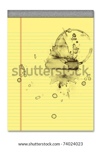 note paper with drops of coffee - stock photo