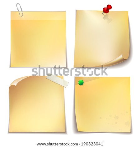Note paper with metal paper clip, green and red push pins on white background.  - stock photo