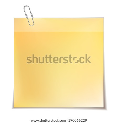 Note paper with metal paper clip isolated on white background. - stock photo