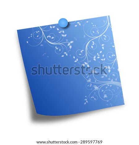Note Paper with pin on white background
