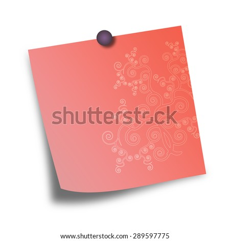 Note Paper with pin on white background  - stock photo