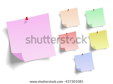 Note paper with pin on white background bord. ready for your customized text or images. Yellow stick note.
