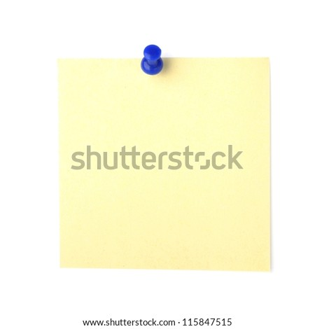 note paper with push pins on white background