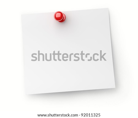 note paper with red push pin isolated on white background - stock photo