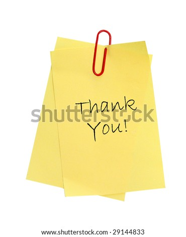 "Note paper with words ""thank you"" on it. - stock photo"