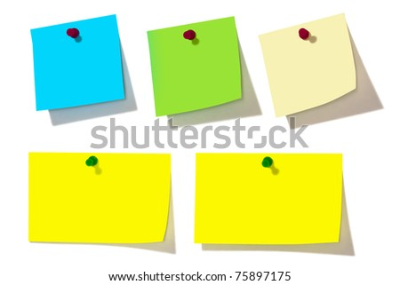 note papers over white background