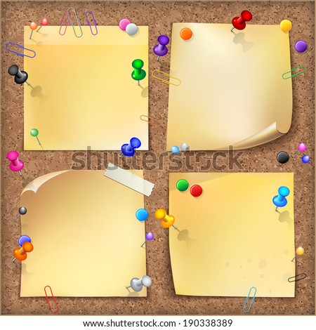 Note papers with pins and paper clips on cardboard background. - stock photo