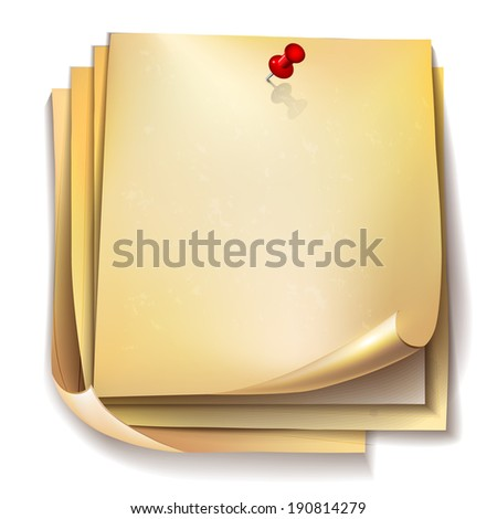 Note papers with red pin on white background. - stock photo