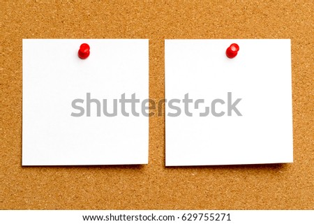 Note sheets on cork board