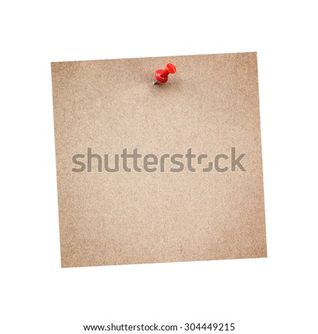 Note with a paper clip. Isolated on a white background with a shadow - stock photo