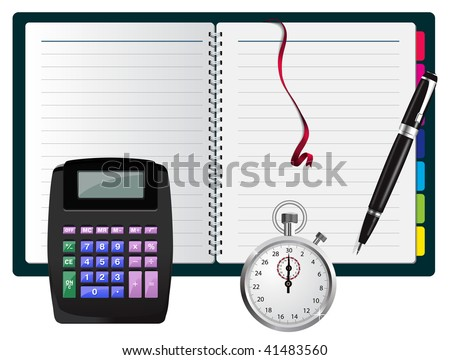 note with calculator, pen and stopwatch - stock photo