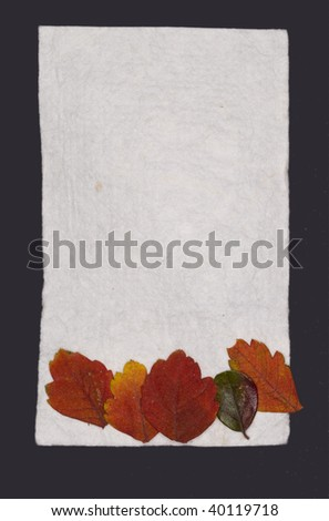 note with colorful leaves - stock photo