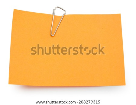 Note with paper clip isolated clipping path - stock photo