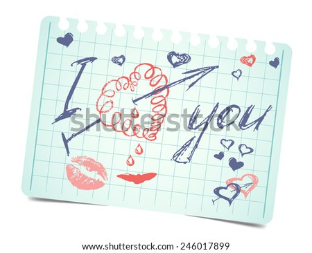 note with text and hearts I love you.  love valentines card - stock photo