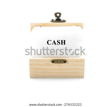"Note with word ""CASH"" in wooden chest isolated on white background - stock photo"