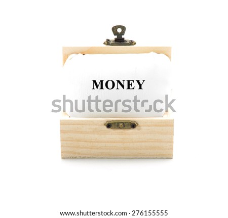 "Note with word ""MONEY"" in wooden chest isolated on white background - stock photo"