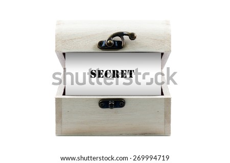 """Note with word """"SECRET"""" in wooden chest isolated on white background - stock photo"""