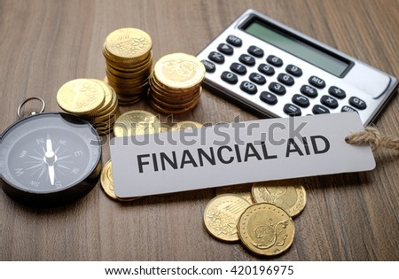 Note written: Financial Aid, financial concept - stock photo