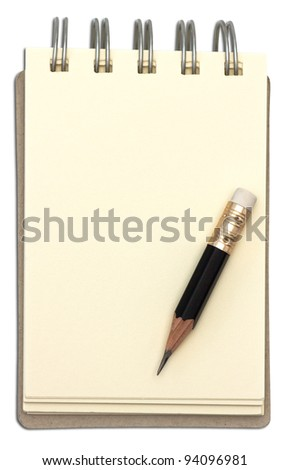 notebook and blank paper with short pencil. - stock photo