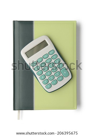 Notebook and calculator isolated on white background with clipping path. Above view. - stock photo