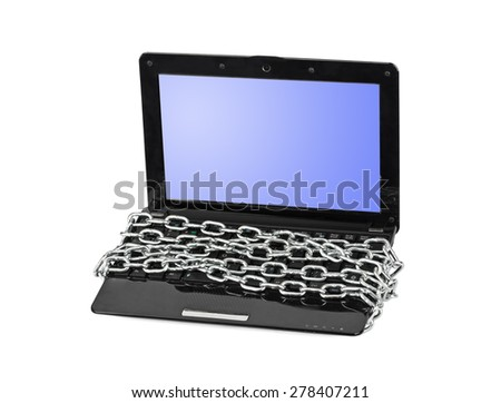 Notebook and chain isolated on white background