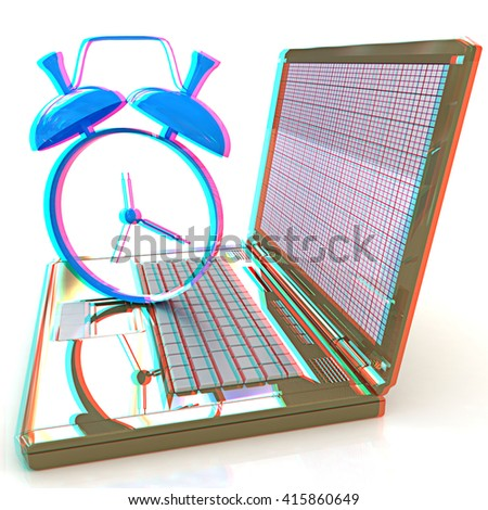 Notebook and clock on a white background. 3D illustration. Anaglyph. View with red/cyan glasses to see in 3D. - stock photo