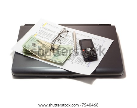 notebook and credit history list with money - stock photo