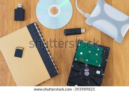 notebook and memory disk technology on wooden floor , memory technology concept - stock photo
