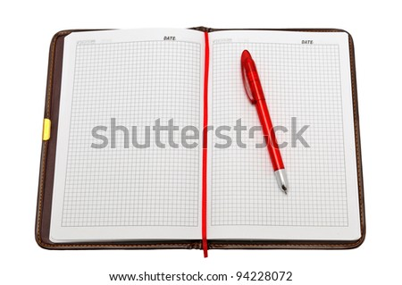 Notebook and pen isolated on a white background - stock photo