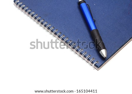 Notebook and pen isolated on the white background.