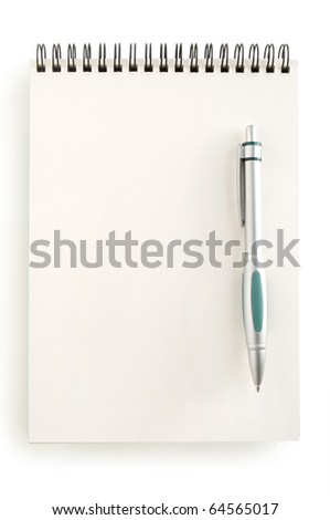 notebook and pen isolated on white - stock photo