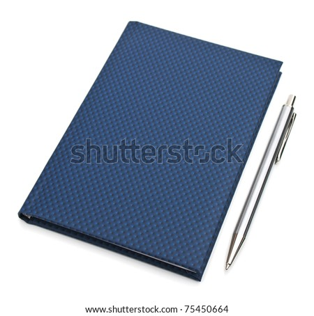 Notebook and pen isolated on white background - stock photo