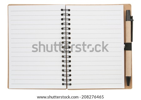 Notebook and pen. isolated on white,  file includes a excellent clipping path - stock photo