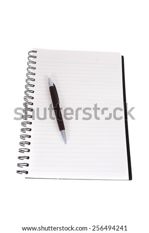 Notebook and Pen, Notebook and pen on white background.