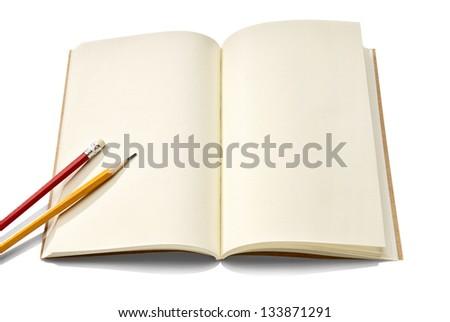 Notebook and pencil isolated on white background. Copy Space to write something.