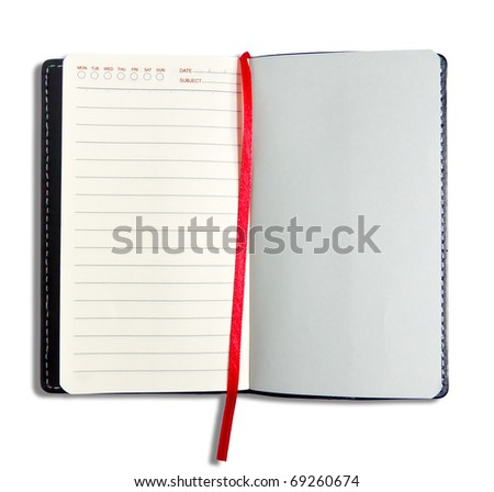 Notebook and red ribbon isolated on white