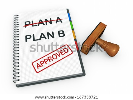 Notebook and rubber stamp with plan b - stock photo