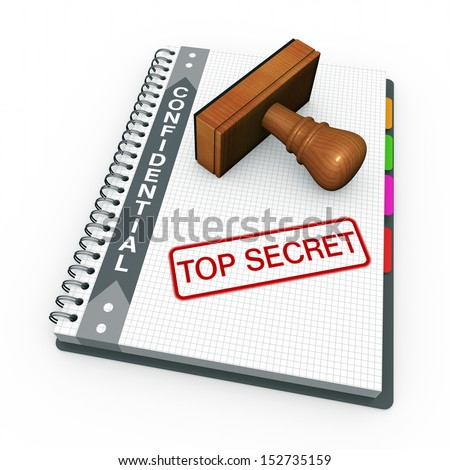 Notebook and rubber stamp with the words top secret - stock photo