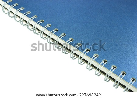 notebook and stack of ring binder book or blue notebook on white background