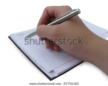 notebook and woman hand - stock photo