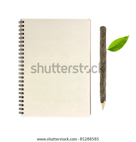 notebook and wooden pencil isolated on white background, conservation concept - stock photo