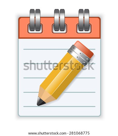 notebook and yellow pencil on a white background