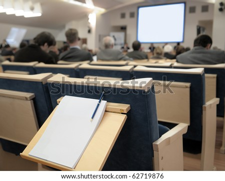 Notebook at business conference. - stock photo